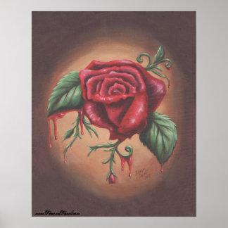Poster cor-de-rosa de sangramento da flor da arte