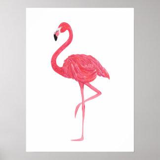 Poster cor-de-rosa do impressão do flamingo da