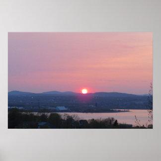 Poster cor-de-rosa do por do sol