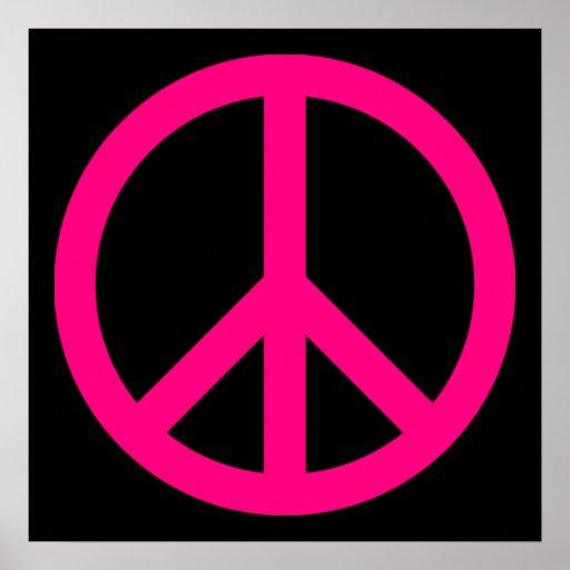 Poster cor-de-rosa do sinal de paz