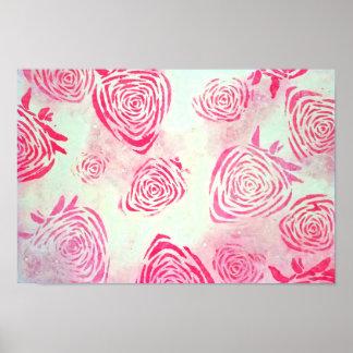 Poster cor-de-rosa dos rosas da morango