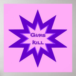 Poster cor-de-rosa e roxo do matar das armas pôster