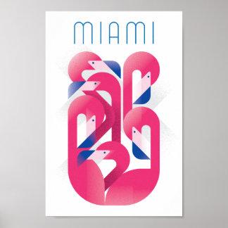 Poster Cor do flamingo de Miami