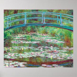 Pôster Cor restaurada Monet que pinta o passadiço japonês