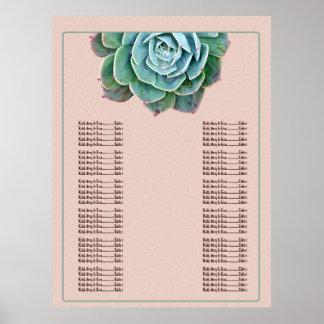 Poster Cora a carta do assento do casamento do Succulent
