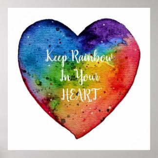 Pôster Coração bonito do arco-íris da aguarela