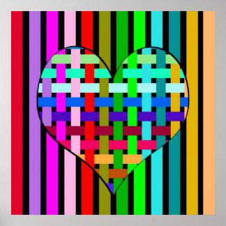 Pôster Coração multicolor