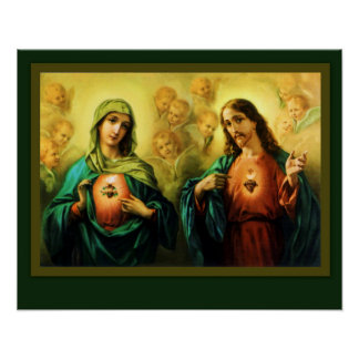 Pôster Coração sagrado de Jesus e coração imaculado de