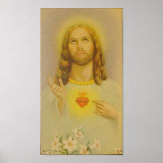 Poster Coração sagrado do vintage do Jesus Cristo