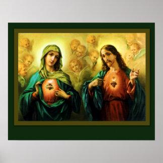Pôster Coração sagrado Jesus & coração imaculado de Mary