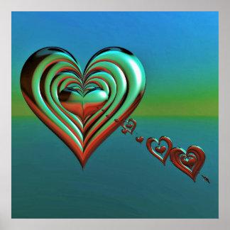 Pôster Corações muito ao alto