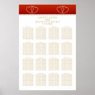 Poster Corações vermelhos escuro e do ouro - carta 16 de