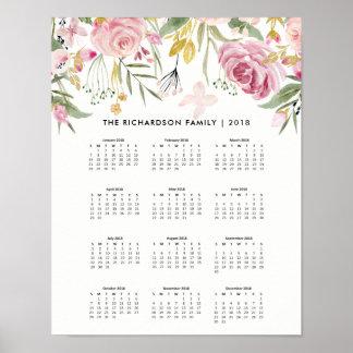Pôster Coram o rosa e o calendário 2018 das flores | do
