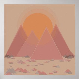 Poster Cordilheira na paisagem rochosa no calor searing