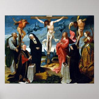 Poster Cornelis Engebrechtsz a crucificação com doador