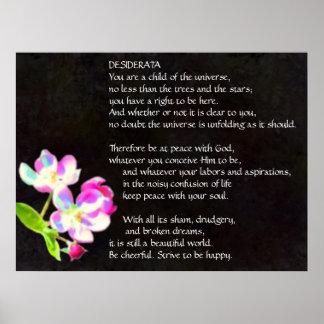 Poster cósmico das flores dos DESIDERATA