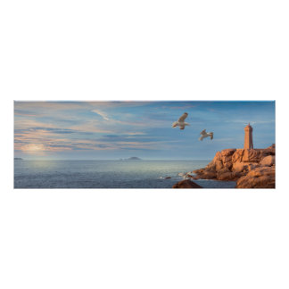 Poster Costa de granito recortar em Bretanha, França