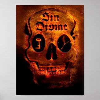 Poster Crânio dourado