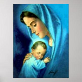 Pôster Criança abençoada Jesus da Virgem Maria e da