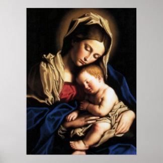 Poster Criança abençoada Jesus da Virgem Maria e da