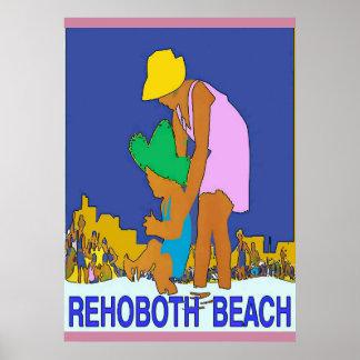 Poster Criança da mamã do art deco da praia de Rehoboth