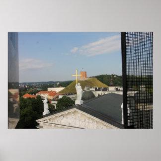 Pôster Cruz de Vilnius, Lithuania, torre