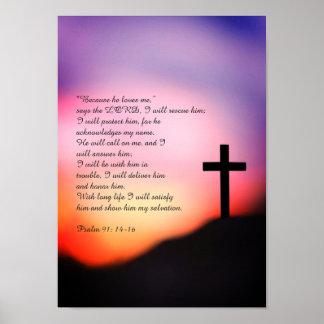 Poster Cruz preta do salmo 91 no monte e no por do sol
