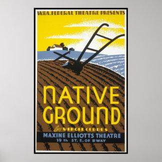 Pôster Cultivo à terra nativo de WPA do vintage