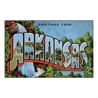 Pôster Cumprimentos de Arkansas, vintage