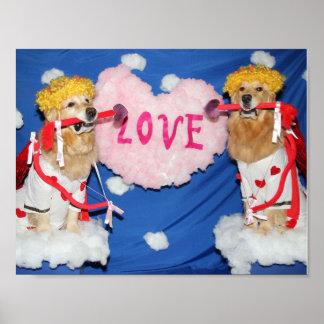 Poster Cupido do golden retriever do amor