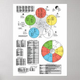 Poster da acupunctura do elemento da cor cinco