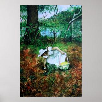 Poster da aguarela da caça do ovo da páscoa