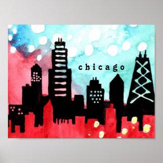 Poster da aguarela da skyline de Chicago Pôster