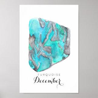 Poster da aguarela | de turquesa de dezembro