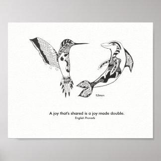 Poster da alegria do golfinho e do colibri
