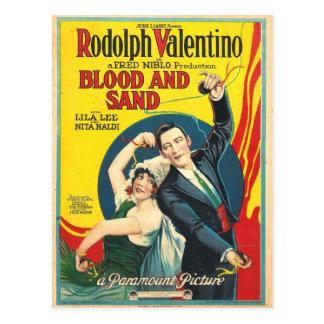 Poster da areia do sangue de Rudolf Valentino Cartão Postal