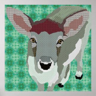 Poster da arte da jovem corça do cinza