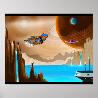 Poster da arte da paisagem de Starship e de Scifi