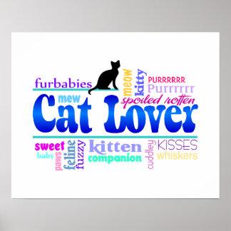 Poster da arte da palavra do amante do gato