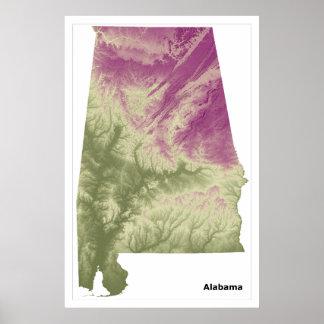 Poster da arte da parede de Alabama, verde ao roxo