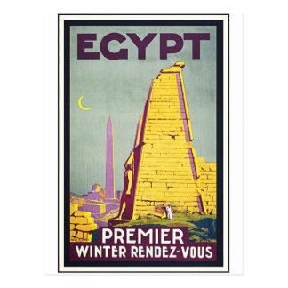 Poster da arte das viagens vintage de Egipto Cartão Postal