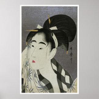 Poster da arte de Ase O Fuku Onna de Kitagawa