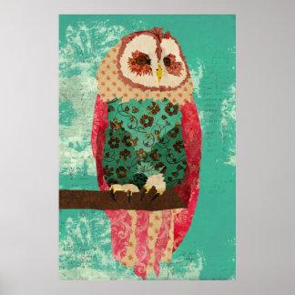 Poster da arte de turquesa da coruja de Rosa do