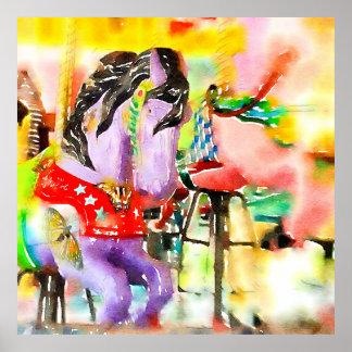 """Poster da arte do cavalo do carrossel """"vindo para"""