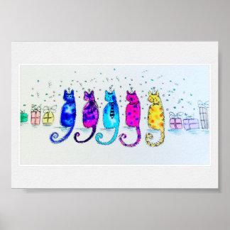 Poster da arte do gato do partido