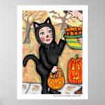 Poster da arte do gato do traje da doçura ou trave