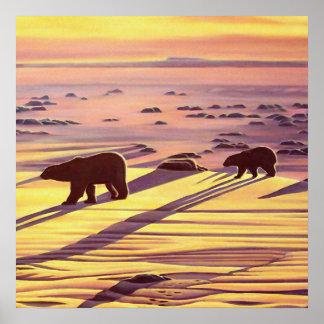 Poster da arte do urso do por do sol dos