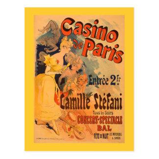 Poster da arte do vintage do de Paris do casino Cartão Postal