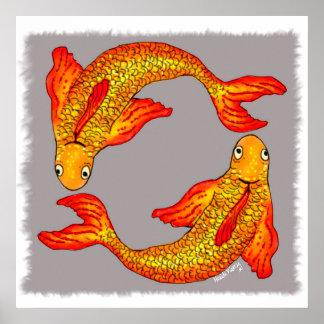 Poster da arte do zodíaco dos peixes dos peixes
