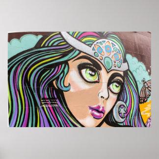 Poster da arte/grafites da rua de Auckland